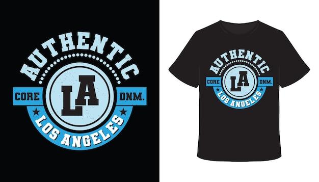 Authentisches los angeles typografie-t-shirt-design