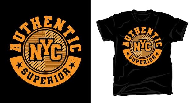 Authentisches new york city überlegenes uni-typografie-t-shirt-design