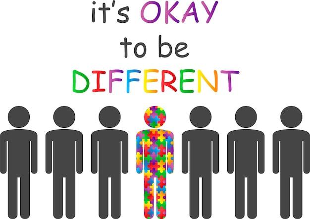 Autismus-bewusstseins-monat es ist in ordnung, anders zu sein mehrfarbiges puzzle in form eines mannes