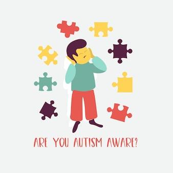 Autismus. frühe anzeichen des autismus-syndroms bei kindern. vektor-emblem. kinder-autismus-spektrum-störung asd-symbol. anzeichen und symptome von autismus bei einem kind.