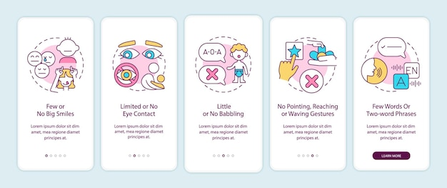 Autismus-zeichen bei kindern, die den bildschirm der mobilen app-seite an bord nehmen. kein großes lächeln, augenkontakt-anleitung 5 schritte mit grafischen anweisungen mit konzepten. ui-, ux-, gui-vektorvorlage mit linearen farbillustrationen
