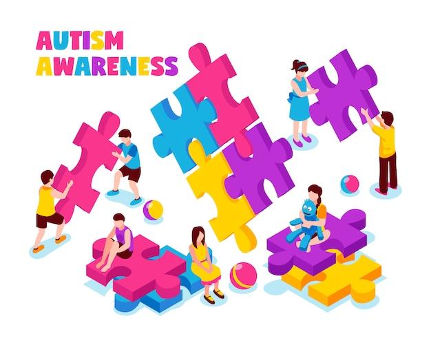 Autismusbewusstseins-zusammensetzungskinder mit bunten puzzlespielstücken und -spielwaren auf weißer isometrischer illustration