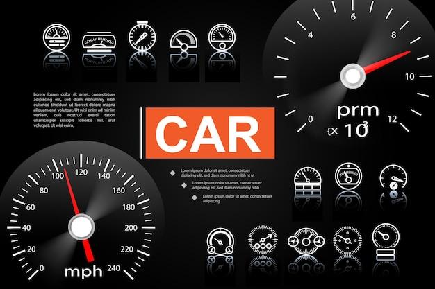 Auto armaturenbrett elemente konzept Kostenlosen Vektoren