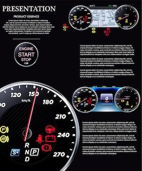 Auto armaturenbrett. geschwindigkeitsmesser eps
