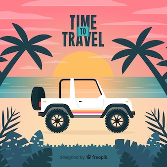 Auto auf dem stranduferreisehintergrund