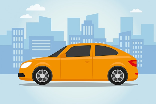 Auto auf stadtblauhintergrund
