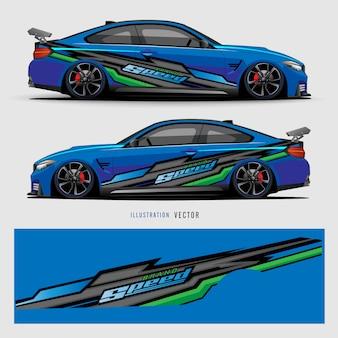 Auto aufkleber. abstrakte linien mit blauem hintergrunddesign für fahrzeugvinylfolie