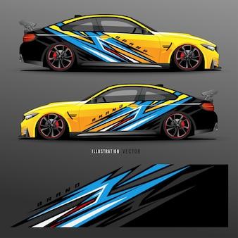 Auto aufkleber. abstrakte linien mit grauem hintergrunddesign für fahrzeugvinylfolie