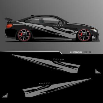 Auto aufkleber. abstrakte linien mit schwarzem hintergrunddesign für fahrzeugvinylfolie