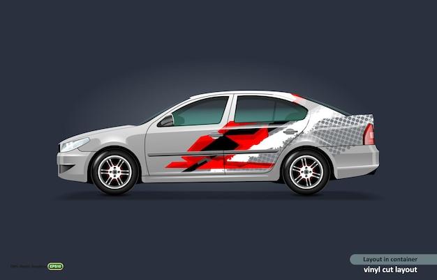 Auto-aufkleber-wrap-design für metallic-limousine mit abstrakten streifen.