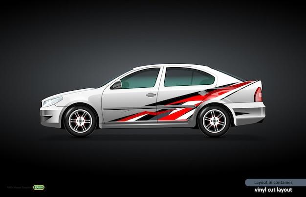 Auto-aufkleber-wrap-design mit abstraktem dynamischem thema auf metallischer limousine.