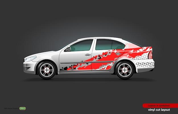 Auto-aufkleber-wrap-design mit abstraktem thema auf metallischer limousine.