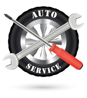 Auto-auto-service-logo mit schraubendreher und schraubenschlüssel