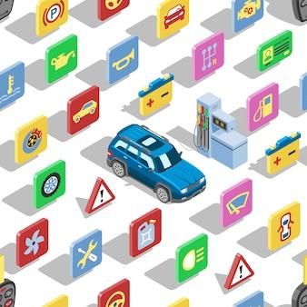 Auto automotive icons isometrische automobile service zeichen sammlung von auto symbolen setzen reifenmotor reparatur und ölfilter nahtlosen muster hintergrund