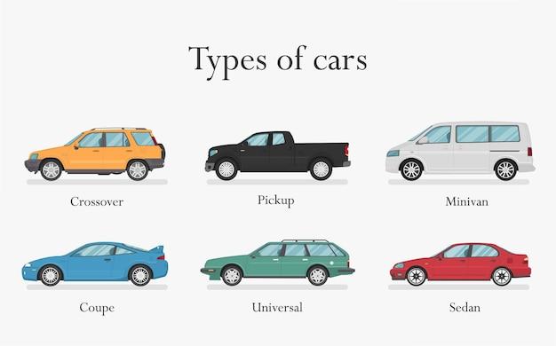 Auto . autos eingestellt. flacher stil. seitenansicht, profil. arten von autos