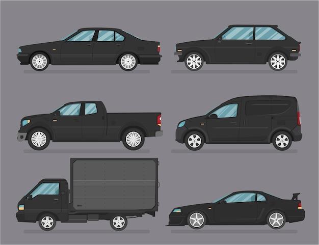 Auto . autos eingestellt. flacher stil. seitenansicht, profil.