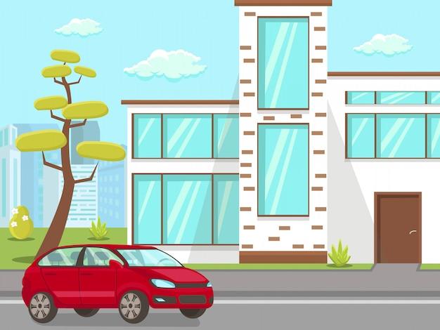 Auto bei haus front yard flat illustration