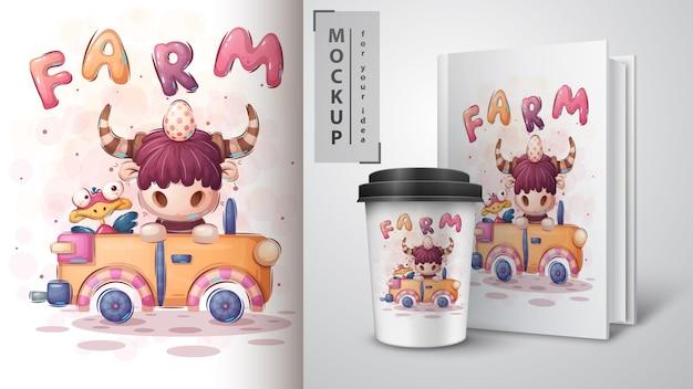 Auto bison - plakat und merchandising