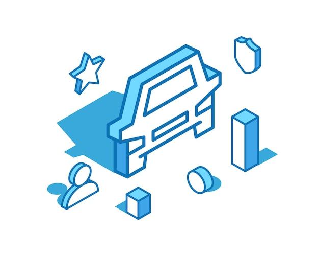 Auto blaue linie isometrische illustration transportservice carsharing taxi 3d banner vorlage