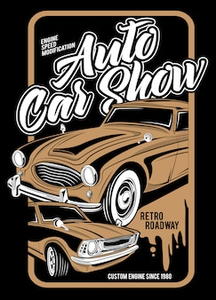 Auto car show, super oldtimer illustration