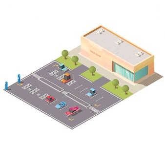 Auto, das nahe isometrischem vektor des geschäftsgebäudes parkt