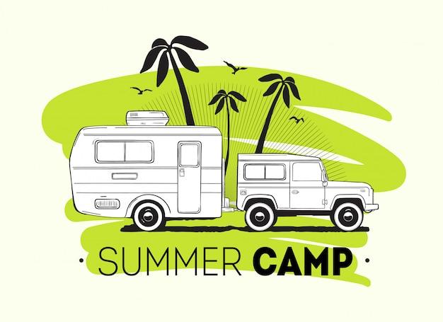 Auto, das wohnwagenanhänger oder reisemobil gegen palmen auf hintergrund und sommer-trip-beschriftung schleppt. freizeitfahrzeug für straßenfahrten oder saisonales camping.