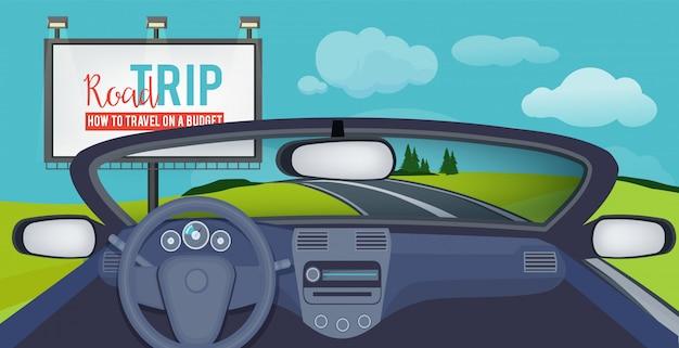 Auto drinnen. blick auf die stadtlandschaft vom innenraumfahrer des autosalons auf straßenbildern