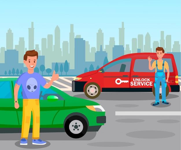 Auto entriegeln service illustration mit beschriftung