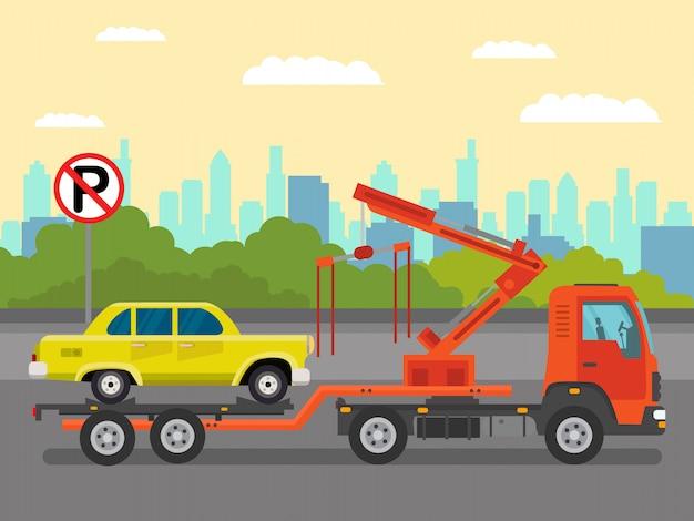 Auto-evakuierungs-service-flache farbillustration
