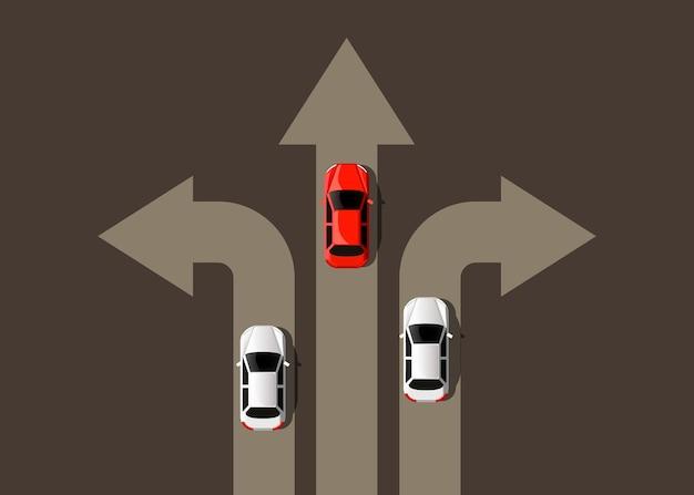 Auto fährt in verschiedene richtungen