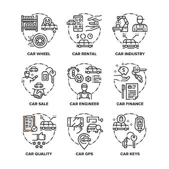 Auto-fahrzeug-set-symbole