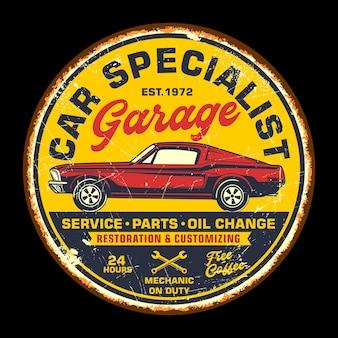Auto garage retro vintage zeichen