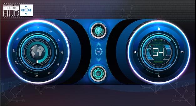 Auto-hud-dashboard. abstrakte virtuelle grafische notenbenutzeroberfläche.