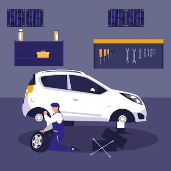 Auto in der wartungswerkstatt mit mechanikerfunktion