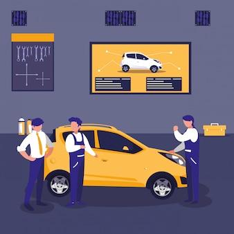 Auto in der wartungswerkstatt mit mechanikerteam