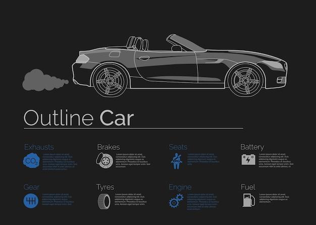 Auto-infografiken auf dunklem hintergrund