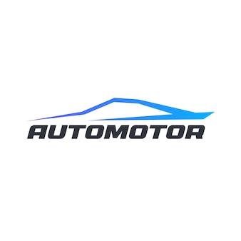 Auto-kontur isolierte symbol auf weißem hintergrund dynamische blaue auto-silhouette in bewegung flach cartoon