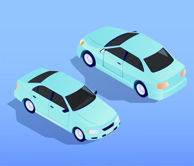 Auto-lkw-flache isometrische vektor-design-illustration