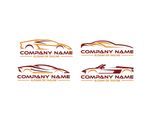Auto-logo in sauberer und einfacher linie grafik gestaltet