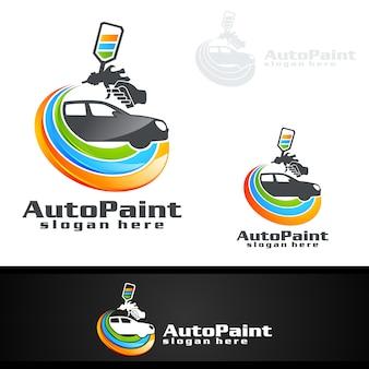 Auto-malerei-logo mit spritzpistole und sportwagen-konzept