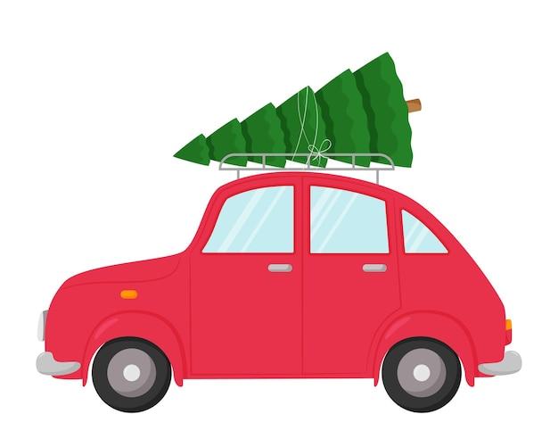 Auto mit einem weihnachtsbaum auf dem dach. illustration in einem flachen stil lokalisiert auf einem weißen hintergrund. element des neuen jahres und des weihnachtsdesigns.