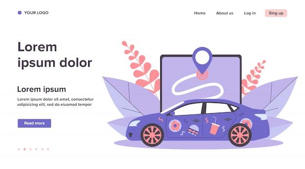 Auto mit lebensmittelaufklebern