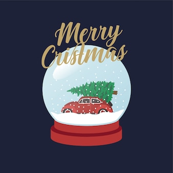 Auto mit weihnachtsbaum schneeball