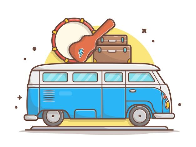 Auto-musik-ausflug-transport mit trommel, gitarre und koffer-vektor-ikonen-illustration. fahrzeug-und musik-ikonen-konzept-weiß lokalisiert