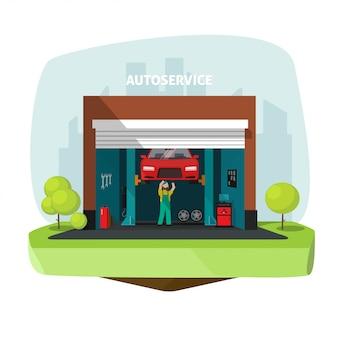 Auto- oder automobilreparaturgaragenmittelillustration