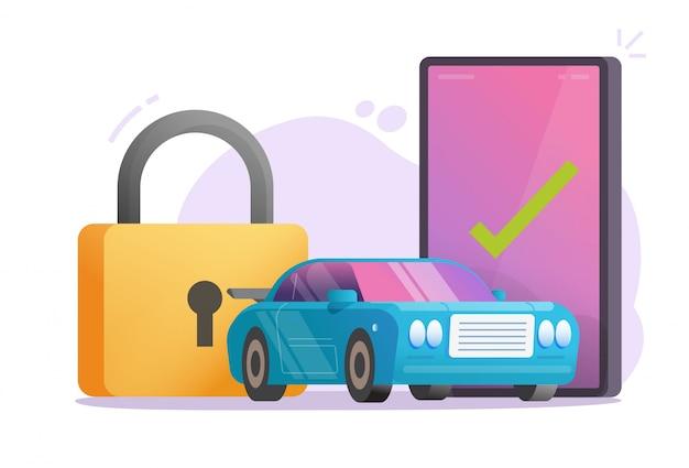 Auto oder fahrzeug autoschutz sichere alarmsignalanlage auf handy oder auto smartphone sicherheit anti-diebstahl-technologie service flat cartoon