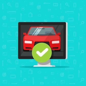 Auto oder fahrzeug und zugelassenes häkchen auf einem computer oder einem auto mit zugelassener diagnose