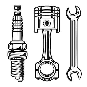 Auto- oder motorradreparaturteilsatz mit detaillierten objekten und gestaltungselementen
