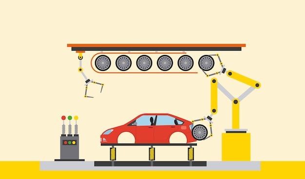 Auto-produktionsanlage prozessschritt reifen montage