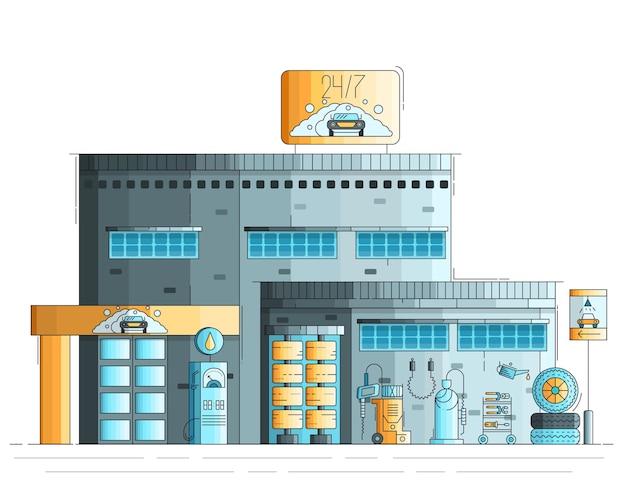 Auto reinigung und waschen gebäude außen. 24 stunden arbeitsstation illustration.